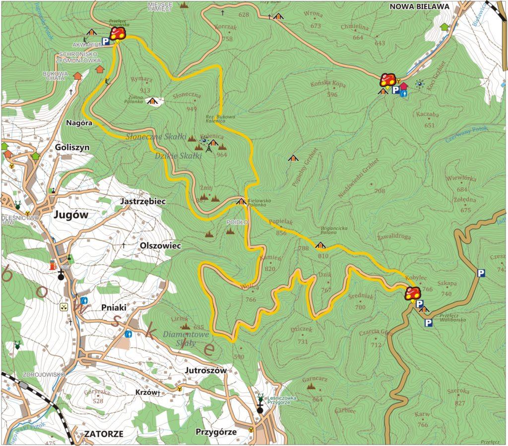 Żółta Bielawa - szlak rowerowy w Górach Sowich