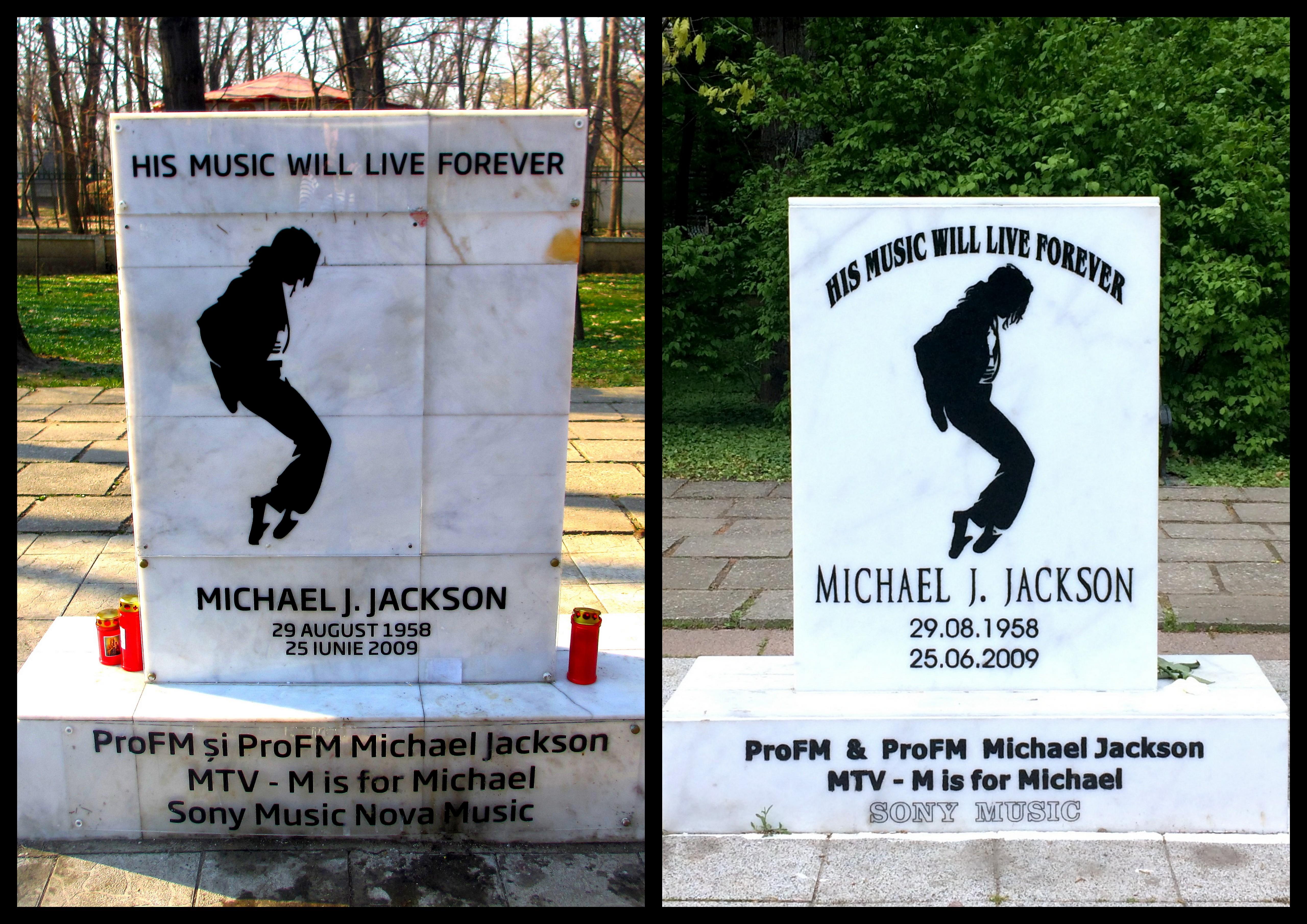 Stary i nowy pomnik na cześć Michaela Jacksona w Parku Herăstrău - Rumunia, Bukareszt
