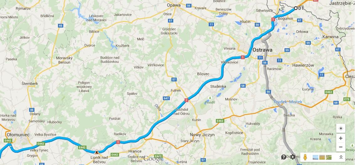 Dojazd samochodem do Chorwacji Czechy 1 - Ostrawa-Ołomuniec