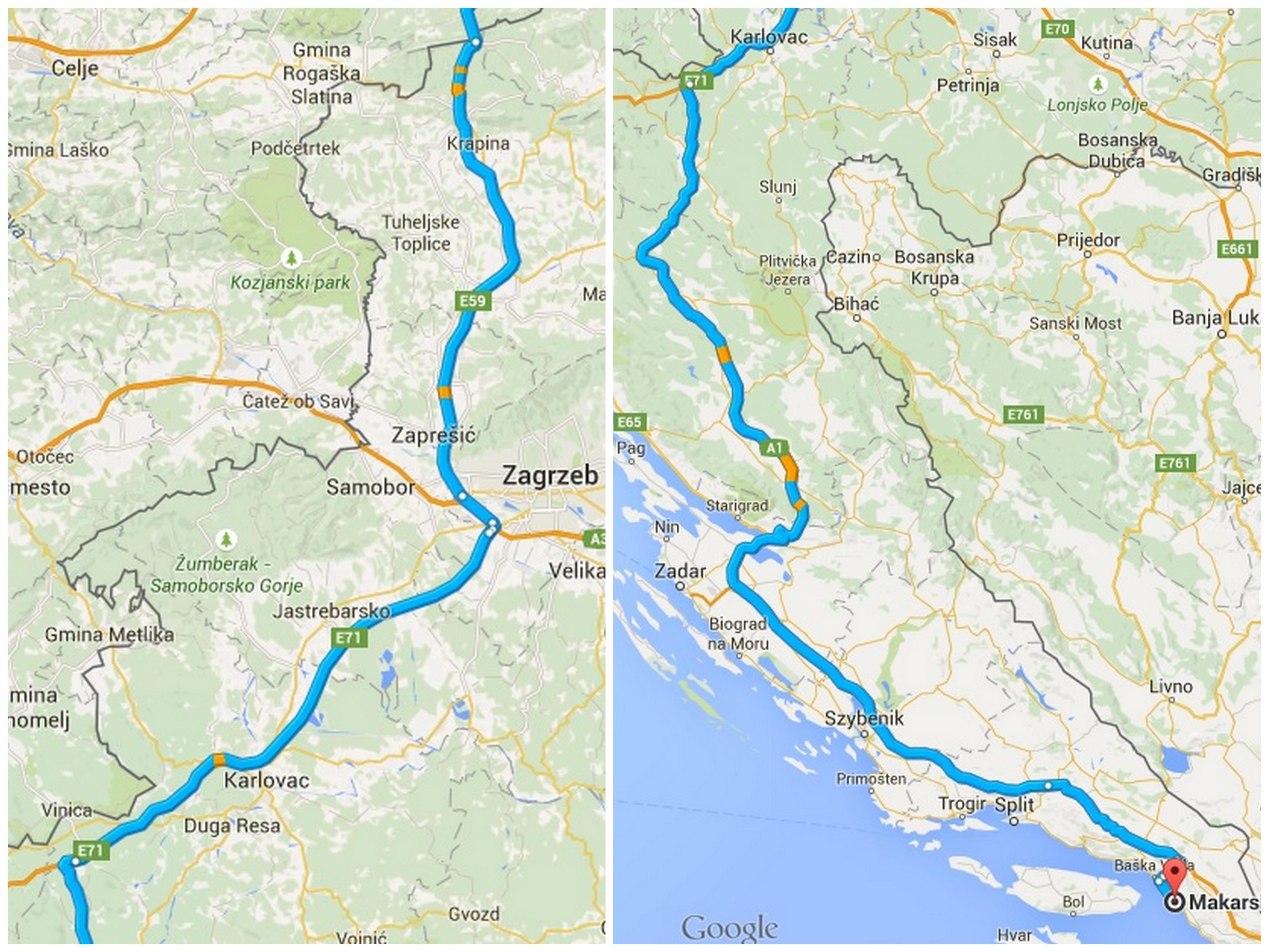 Dojazd samochodem do Chorwacji: Gorniji Macelj - Makarska