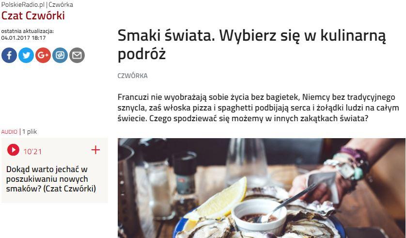 Czwórka Polskie Radio - Podróże kulinarne - Marta Gawrychowska