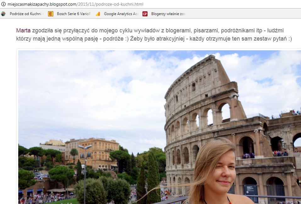 Blog Miejsca Smaki Zapachy - wywiad z Martą Gawrychowską
