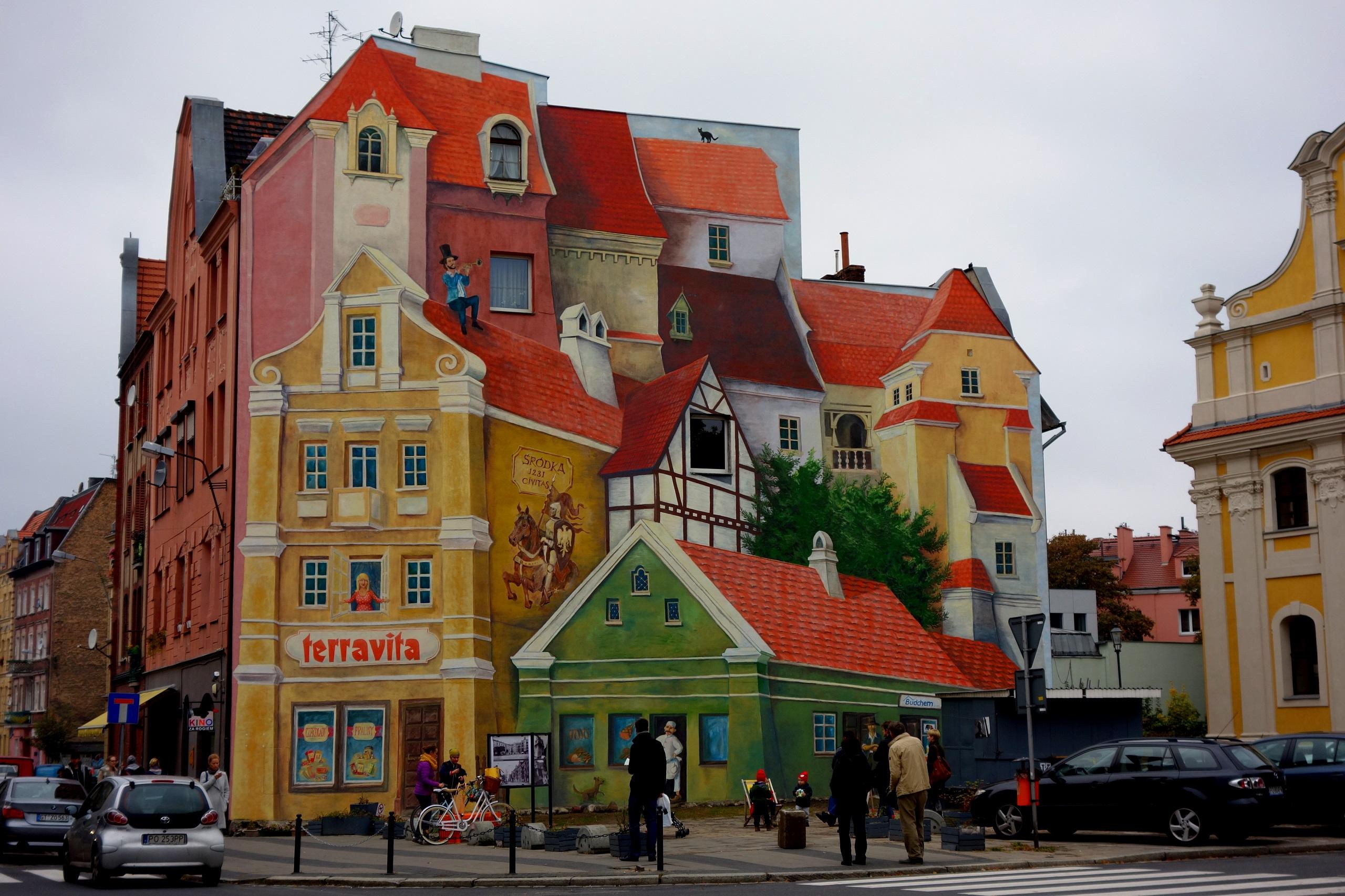 Mural naprzeciwko Hotelu Śródka w Poznaniu