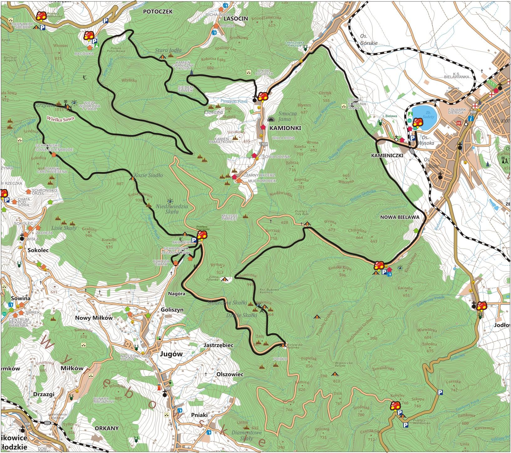 Czarna Bielawa - szlak rowerowy w Górach Sowich