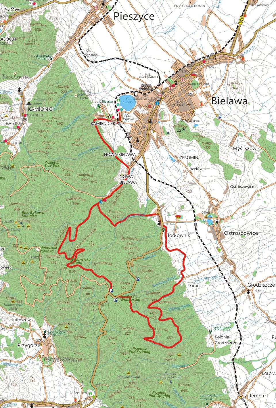 Czerwona Bielawa - szlak rowerowy w Górach Sowich