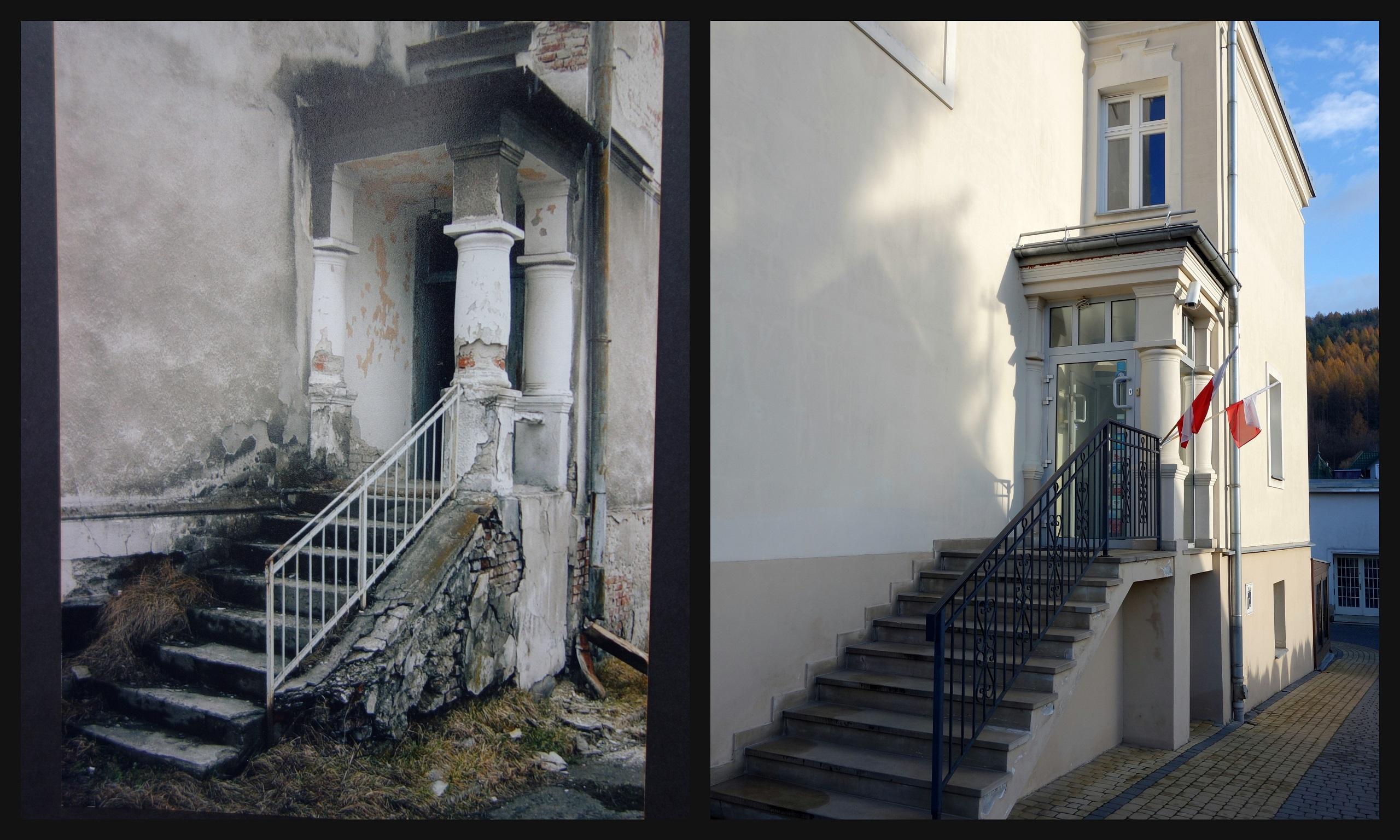 Wejście do Villi Neve - przed i po renowacji