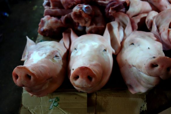 Mięso z targu w Siem Reap